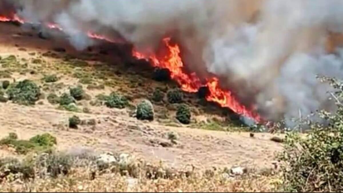 Incendio sul monte