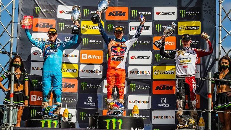Il podio della MX2 - Foto Davide Messora ©